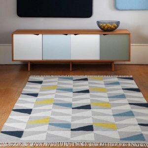 Hackney Kelim Geo Mustard Rug By Asiatic