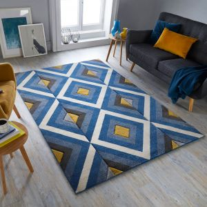 Hand Carved Paloma Blue Ochre Rug by Flair Rugs