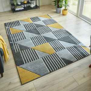 Hand Carved Velocity Ochre Grey Rug by Flair Rugs