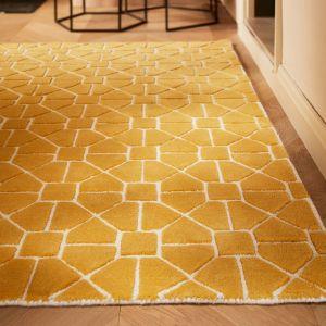 Harmony Ochre Geometric Wool Rug by Origins