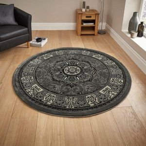 Heritage 4400 Grey Traditional Circle Rug by Think Rugs