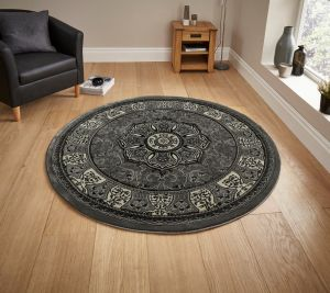 Heritage 4400 Silver Traditional Circle Rug By Think Rugs