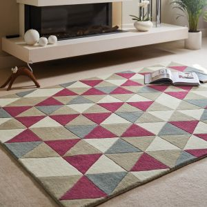 Honeycomb Raspberry Wool Rug by Origins