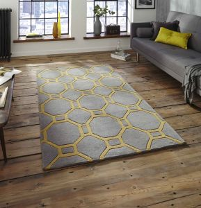 Think Rugs Hong Kong HK-4338 Grey/Yellow Rug