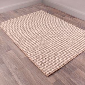Houndstooth Taupe Wool Rug by HMC
