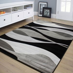 Hudson Grey Black Abstract Rug by Floorita