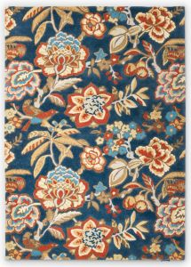 Indra 145808 Ink Ruby Floral Rug by Sanderson