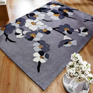 Infinite Blossom Grey/Ochre Floral Rug By Flair Rugs