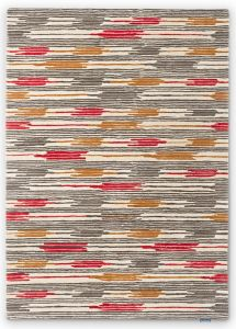 Ishi 146000 Red Charcoal Striped Rug by Sanderson