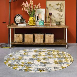 Ivory Atlas 160205 Ochre Circle Rug by Ted Baker
