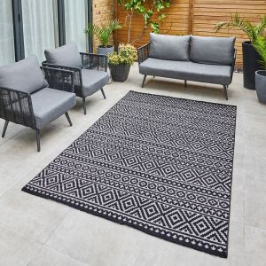 Jazz JAZ03 Grey Black Geometric Rug by Concept Looms