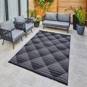 Jazz JAZ09 Grey Black Geometric Rug by Concept Looms