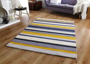 Jazz Stripes Yellow Wool Rug by Oriental Weavers