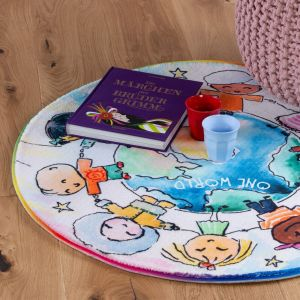 Juno JUN 477 World Map Kids Circle Rug by Obsession