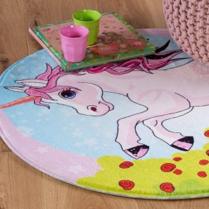 Juno JUN 478 Unicorn Kids Circle Rug by Obsession