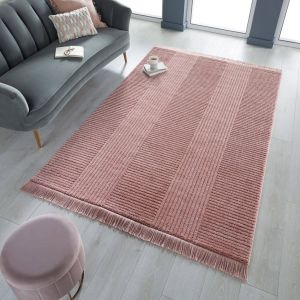 Kara Blush Striped Rug by Flair Rugs