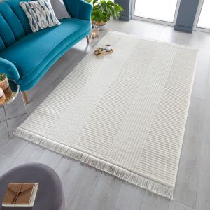 Kara Ivory Striped Rug by Flair Rugs