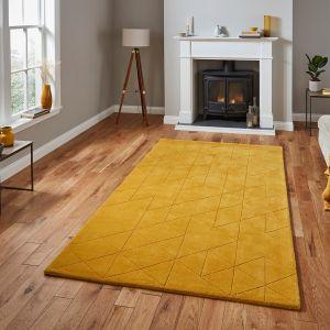 Kasbah KB2025 Ochre Geometric Wool Rug by Think Rugs