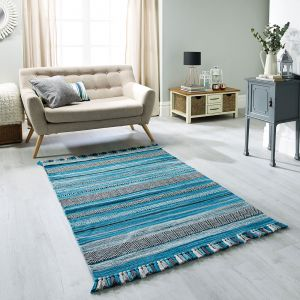 Kelim Stripe Teal Flatweave Runner by Oriental Weavers