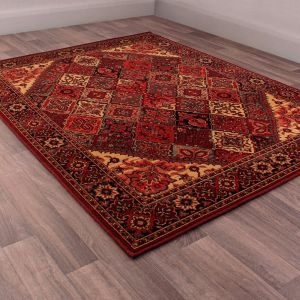 Keshan Heritage Baktiari Red Wool Rug by HMC