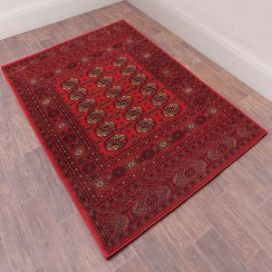 Keshan Heritage Bochara Red Wool Rug by HMC