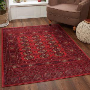 Keshan Heritage Bochara Red Wool Rug by HMC