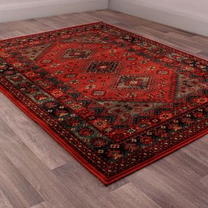 Keshan Heritage Shirvan Red Wool Rug by HMC