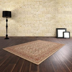 Keshan Supreme Herati Cream Wool Rug by HMC
