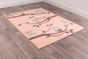 Kids Poly Owl Rose Graphics Rug by Rug Style