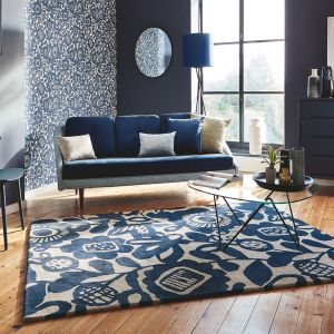 Kukkia 24508 Ink Hand Tufted Wool Rug by Scion
