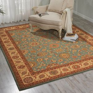 Living Treasures LI05 Aqua Traditional Wool Rug by Nourison