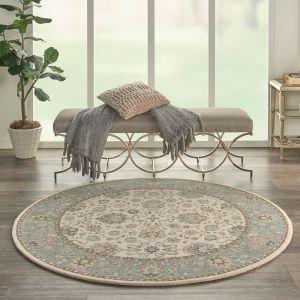Living Treasures LI16 Ivory Aqua Traditional Wool Circle Rug by Nourison