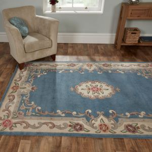 Lotus Premium Dynasty Wool Aubusson Blue Rug By Flair Rugs