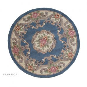 Lotus Premium Aubusson Blue Circle Rug By Flair Rugs