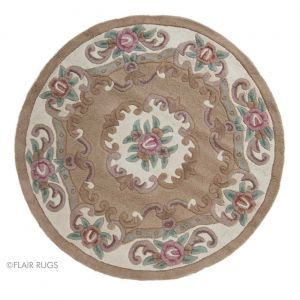 Lotus Premium Aubusson Fawn Circle Rug By Flair Rugs