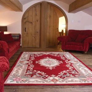 Lotus Premium Dynasty Wool Aubusson Red Soft Rug By Flair Rugs