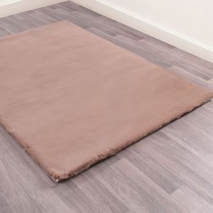 Luxe Faux Fur Beige Plain Shaggy Rug by HMC