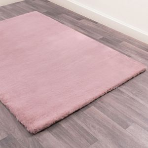 Luxe Faux Fur Blush Plain Shaggy Rug by HMC