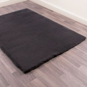 Luxe Faux Fur Charcoal Plain Shaggy Rug by HMC