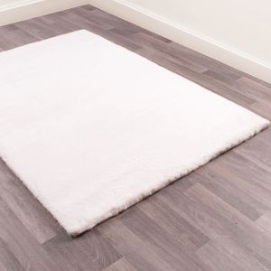 Luxe Faux Fur Ivory Plain Shaggy Rug by HMC