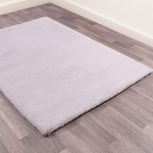 Luxe Faux Fur Silver Plain Shaggy Rug by HMC