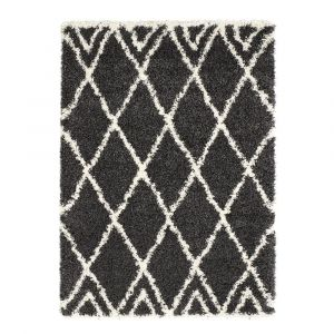 Luxury Shaggy Diamond Charcoal Ivory Rug by Origins