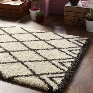 Luxury Shaggy Diamond Ivory Charcoal Rug by Origins