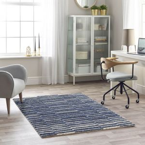 Maison 7751A Blue White Striped Rug by Mastercraft