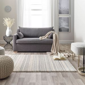 Maison 7887C White Light Grey Striped Rug by Mastercraft