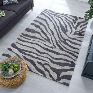 Manhattan Wilder Zebra Charcoal Grey Rug by Flair Rugs