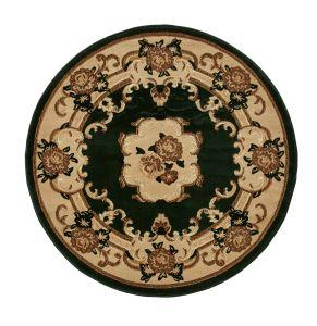 Think Rugs Marrakesh Dark Green Circle Traditional Rug