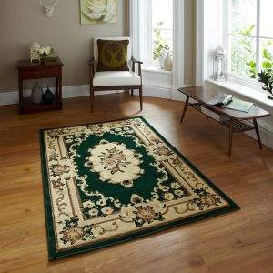 Think Rugs Marrakesh Dark Green Circle Traditional Rug