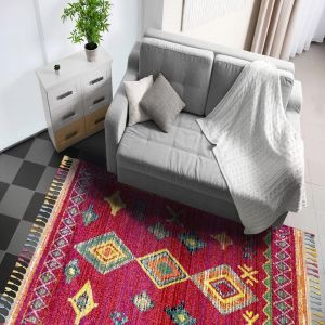 Royal Marrakech 2208b Red Lilac Shaggy Rug by Mastercraft