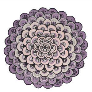 Masquerade 160002 Pink Wool Circle Rug by Ted Baker